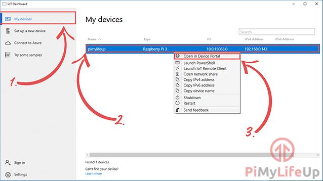 Windows 10 IoT My Devices Screen