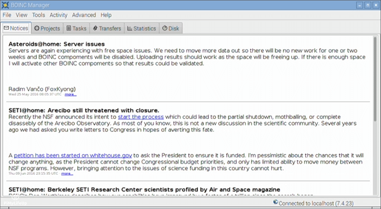 BOINC Notices Screen
