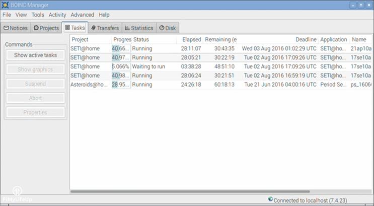 BOINC Tasks Screen