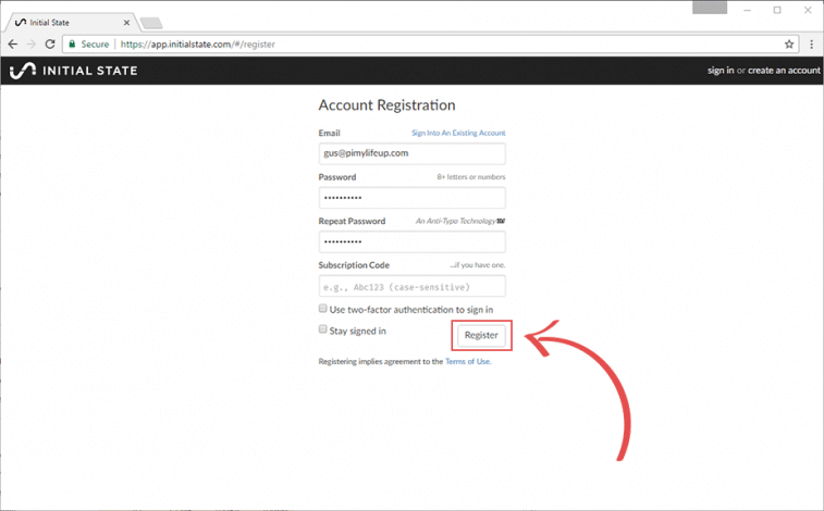 Initial State Account Registration