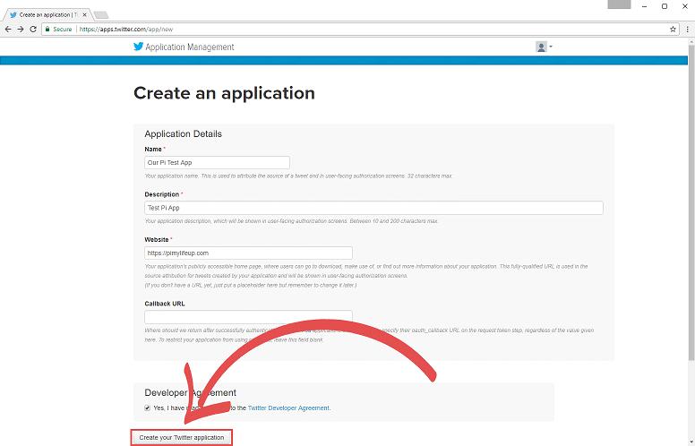 Twitter Bot Create an application