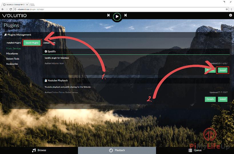 Raspberry Pi Volumio install spotify