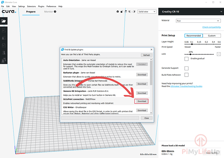 Cura Step 02 Download OctoPrint Connection Plugin