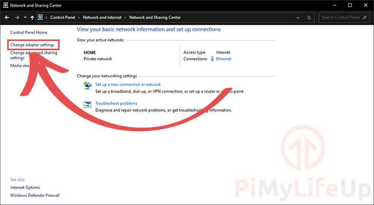 Windows Change Adapter Settings Option