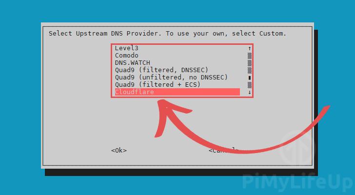Select DNS Provider for Pi-Hole
