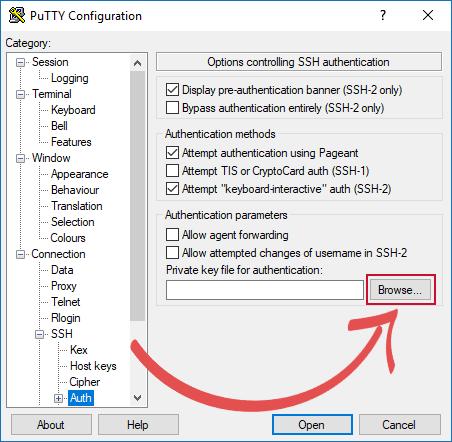 Raspberry Pi SSH Keys PuTTY Set Private Key