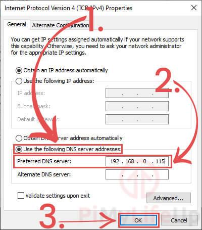 Windows Change DNS settings to pi-hole