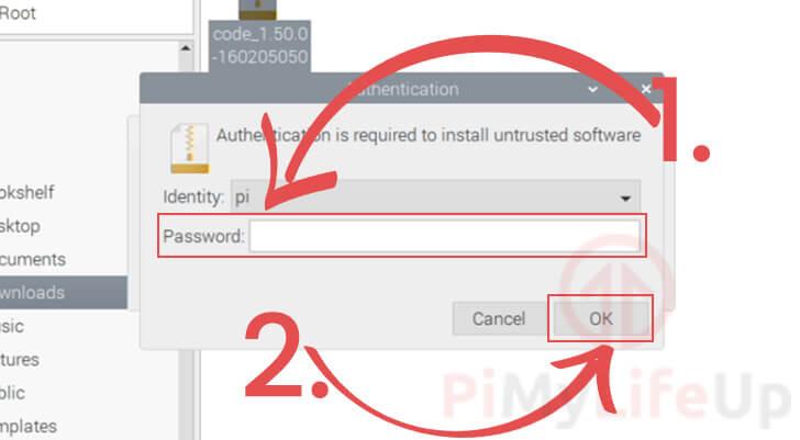 Enter Password to Install VS Code