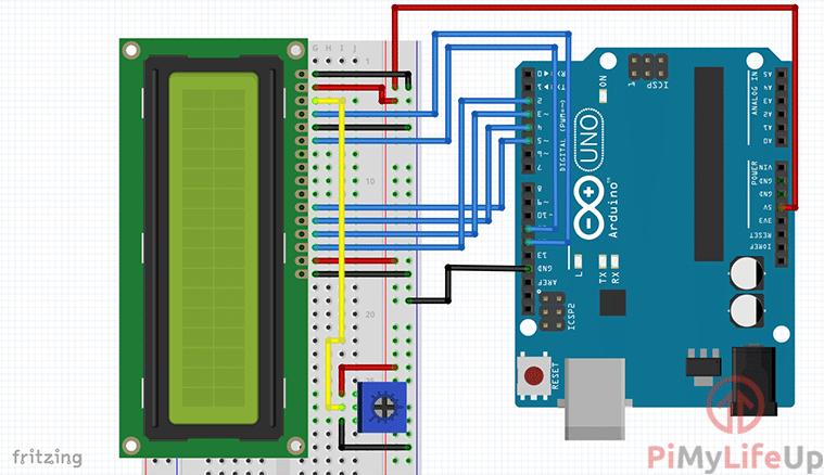 Arduino LCD Display Circuit Diagram