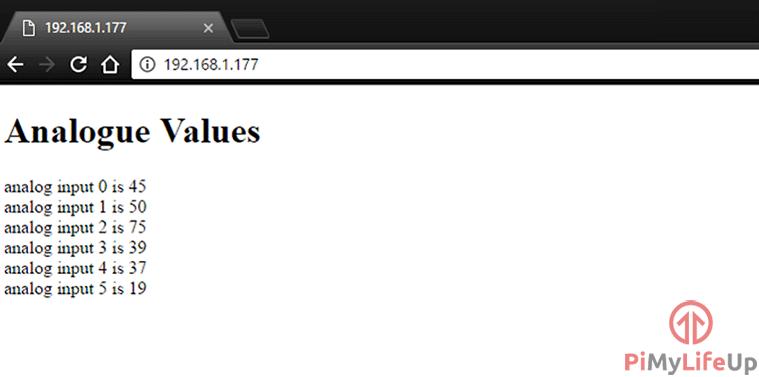 Arduino web page displaying analog inputs
