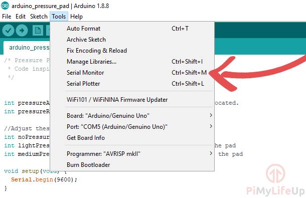 Arduino Serial Monitor Menu Location