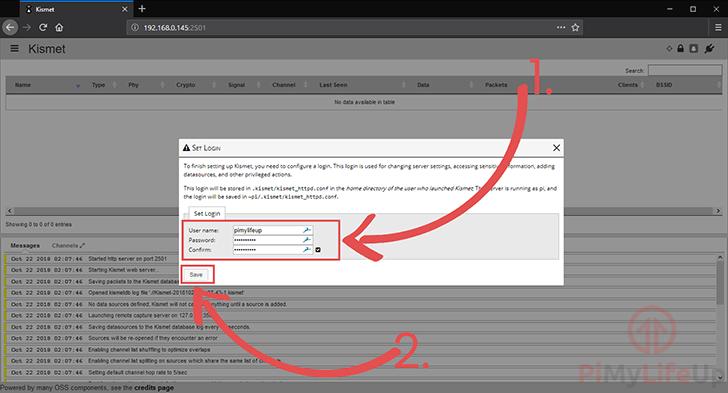 Kismet Set username and password