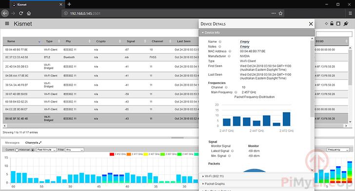 Kismet Data Screen
