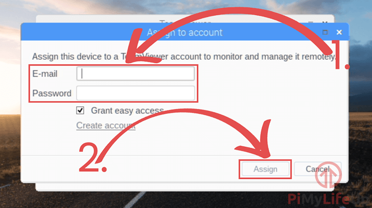 TeamViewer Assign to account
