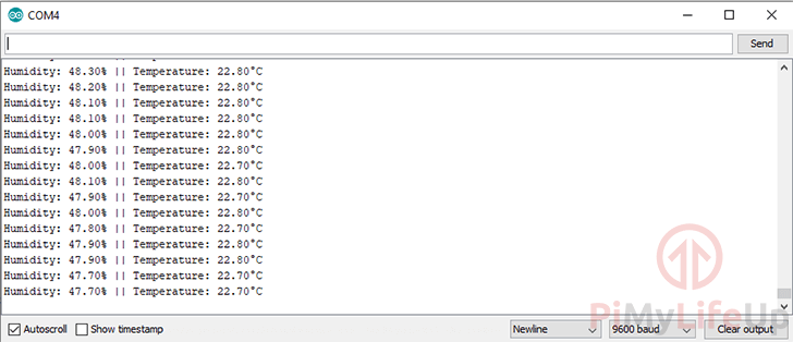 Arduino DHT22 Serial Monitor Results