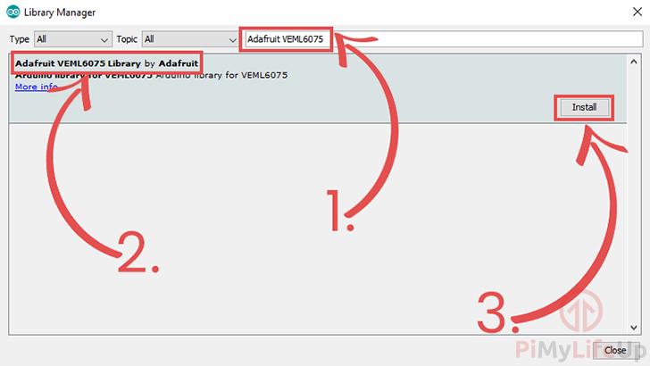 Arduino IDE Installing the Adafruit VEML6075 library