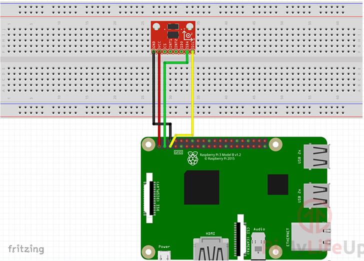 Raspberry Pi ADXL345 Accelerometer Wiring Schematic