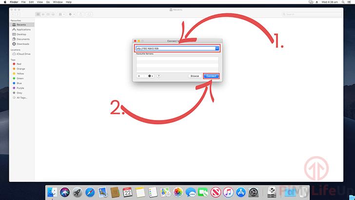 Mac OS X Enter Raspberry Pi AFP Details