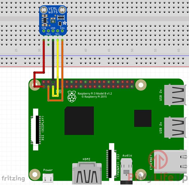 Raspberry Pi VEML6075 UV Sensor Wiring Schematic