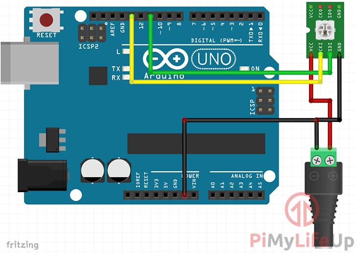 Arduino APA102 RGB LED Strip Wiring Schematic