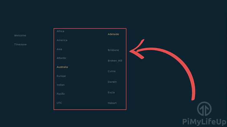Kodi OSMC Setup Select Timezone