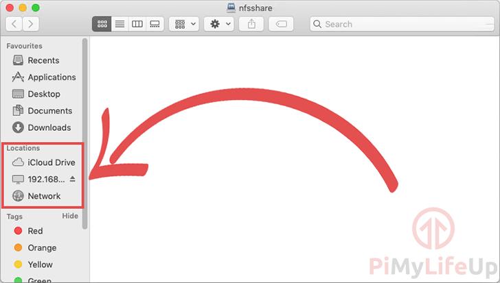 MAC OS X Raspberry Pi NFS Connected