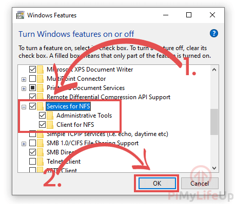 Windows Turn on services for NFS