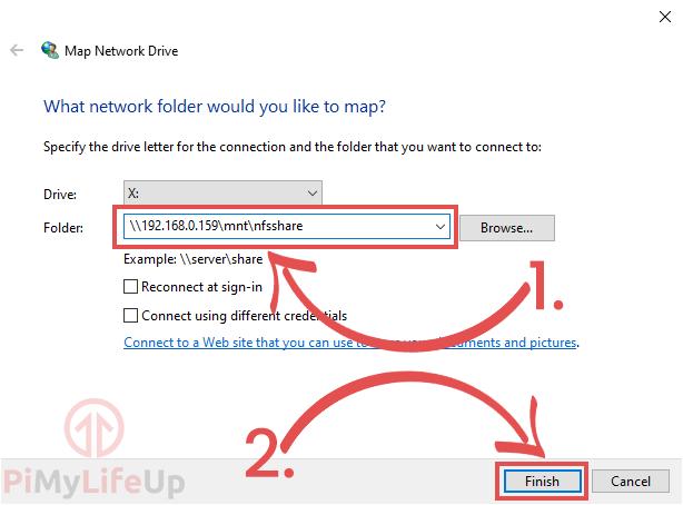 Windows Map Network Drive NFS Details