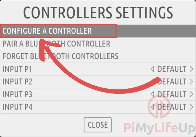 RecalBox Controller Settings Menu