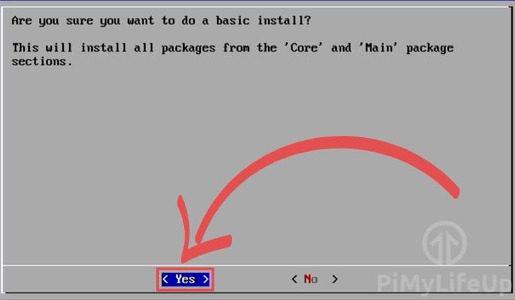 RetroPie Basic Install Confirm Screen