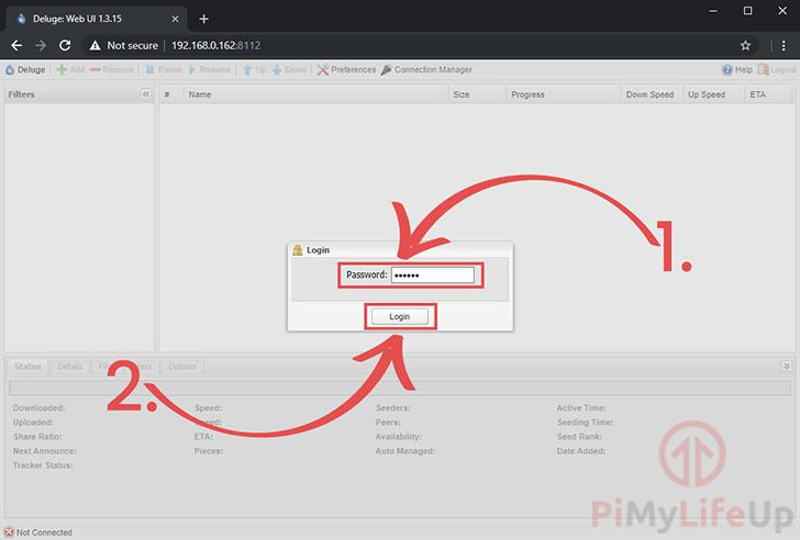 Raspberry Pi Deluge Web Login Screen
