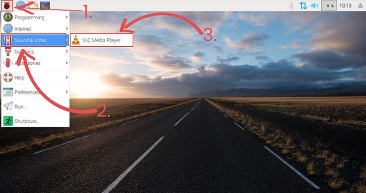 Raspbian OS VLC Media Player Menu Location