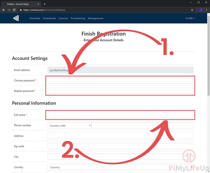 Emteria OS Account Details