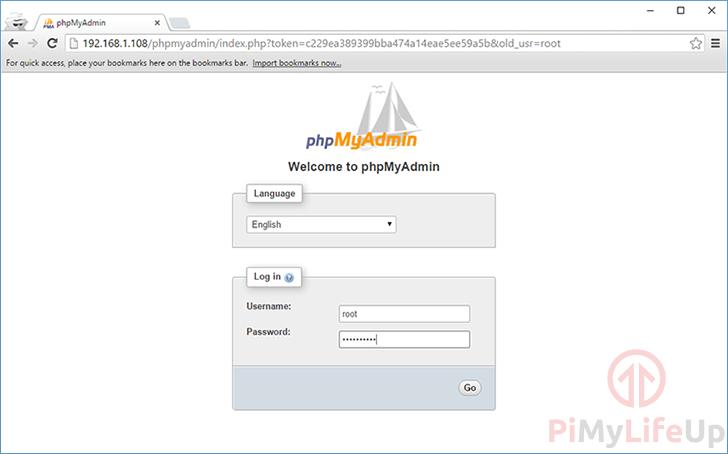 Raspberry Pi PHPMyAdmin Interface