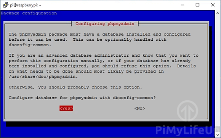 Raspbian PHPMyAdmin setup
