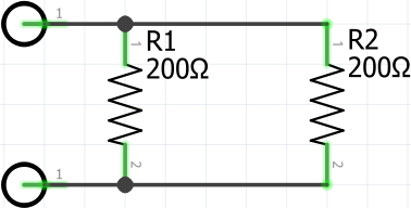 Two 200ohm Resistors in Parallel Circuit Diagram