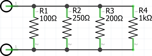 100ohm, 250ohm, 200ohm, and 1kohm Resistors in Parallel Circuit Diagram