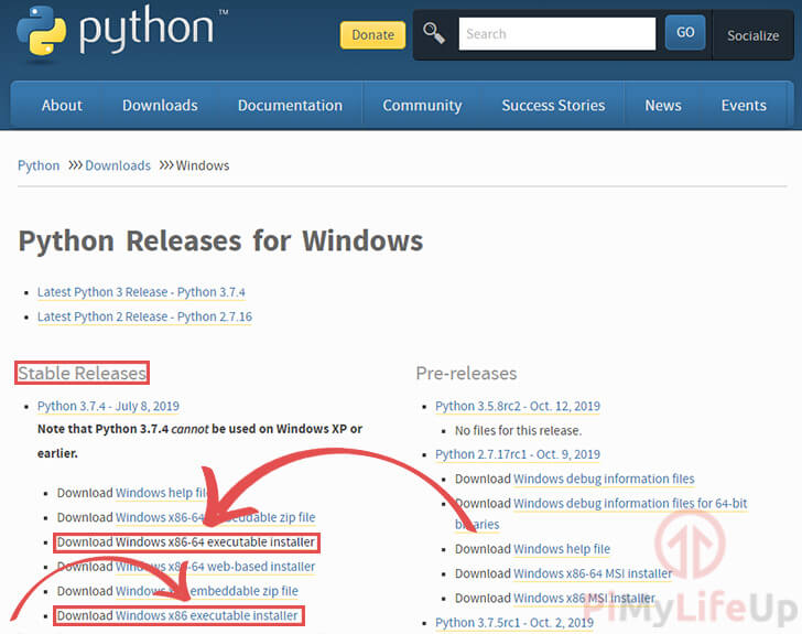 Python for Windows Download Page