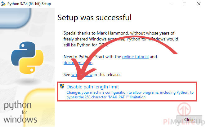 Python for Windows Installer Disable Path Limits