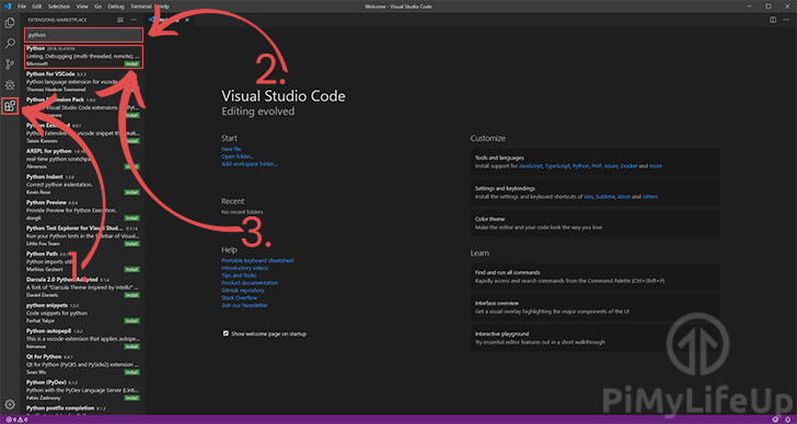 Visual Studio Code Installing the Python Extension