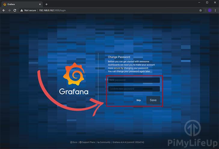 Grafana Initial Setup Set New Password