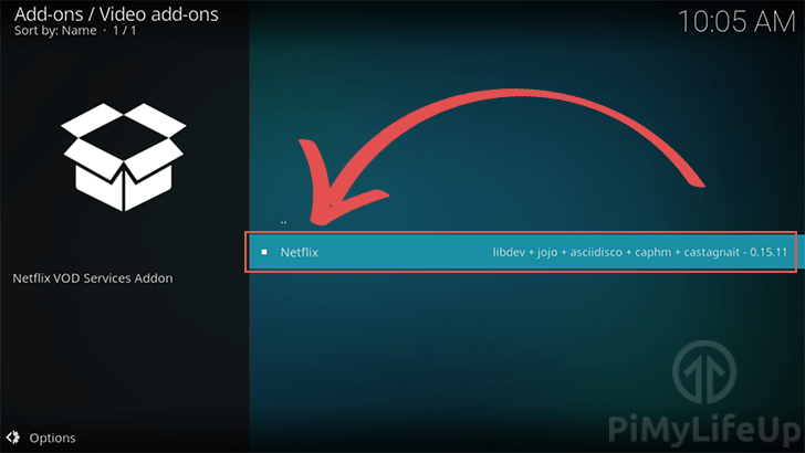 Select Netflix Add-on to install