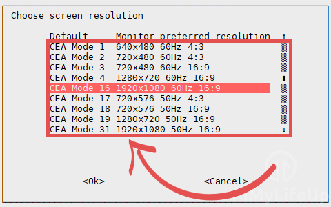 Changing screen resolution using raspi-config