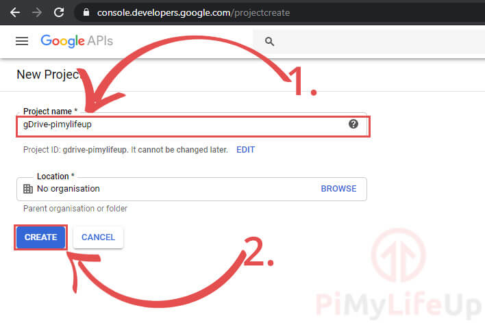 Create Google API Project