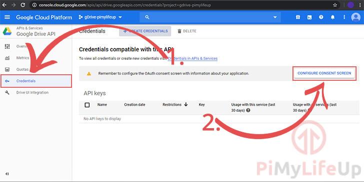 Google API Configure Consent Screen
