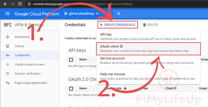 Create Credentials Oauth Client ID