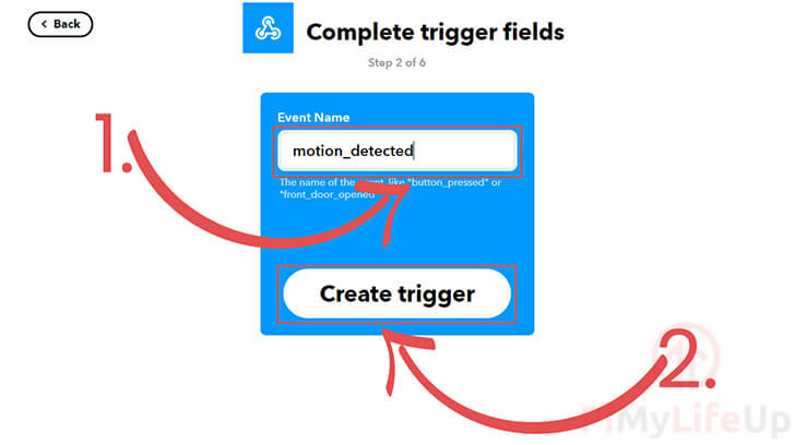 Specify event name with trigger