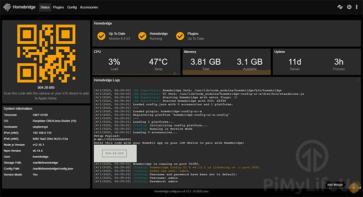 Homebridge Dashboard on Raspberry Pi