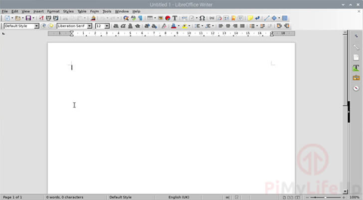 LibreOffice Writer Running on Raspbian