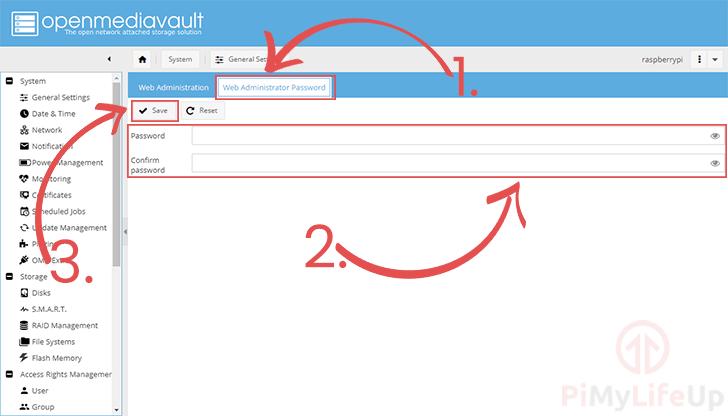 OpenMediaVault Set Web Admin Password